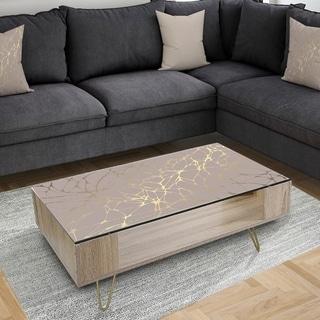 Designart 'Golden Marble Design II' Glam Coffee Table