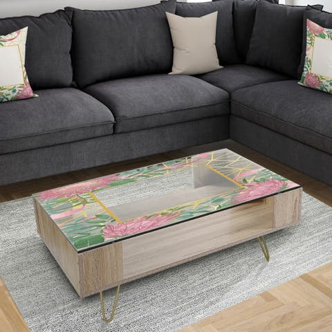 Designart 'Efflorescent Gold Pink 4' Modern Coffee Table