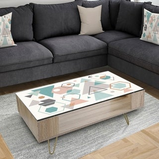 Designart 'Geometric hexagons Pattern VI' Transitional Coffee Table
