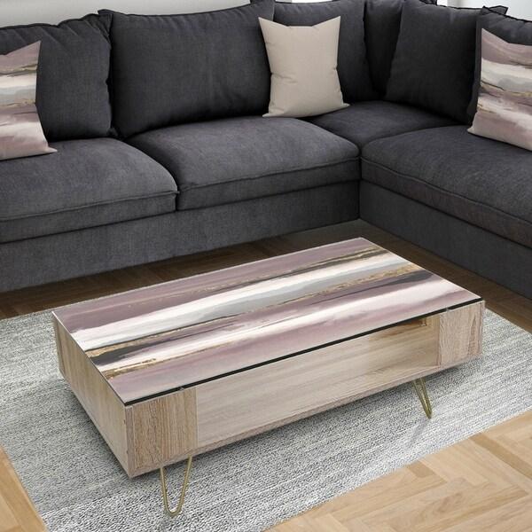 Designart 'Purple Glam Storm I' Glam Coffee Table