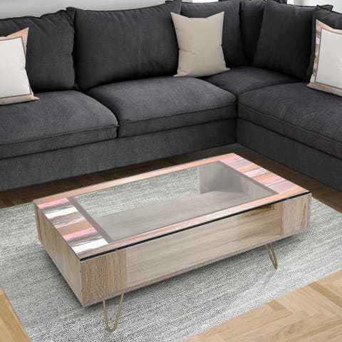 Designart 'Gold and Pink Frame' Mid-Century Modern Coffee Table
