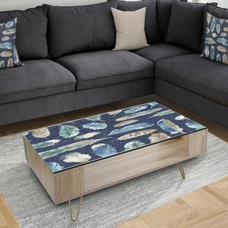 Designart 'Indigold metallic feathers Pattern' Traditional Coffee Table