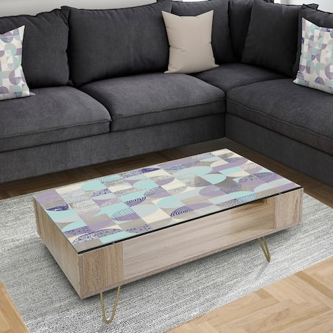 Designart 'Retro Geometric Design IV' Vintage Coffee Table