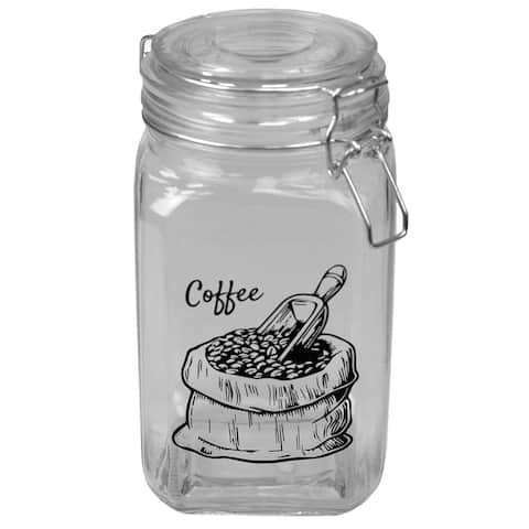 43 oz. Glass Canister with Metal Clasp, Clear