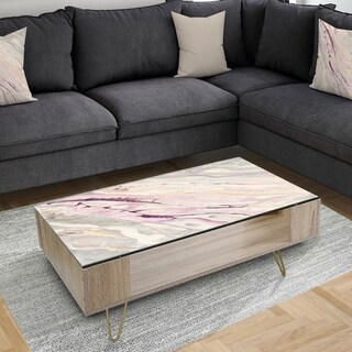 Designart 'Shaby Pink Marble' Transitional Coffee Table