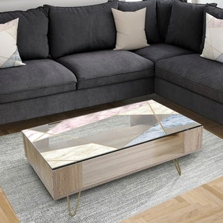 Designart 'Marbled Diamond 3' Mid-Century Modern Coffee Table