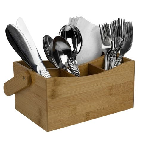 4 Compartment Bamboo Flatware Caddy Natural
