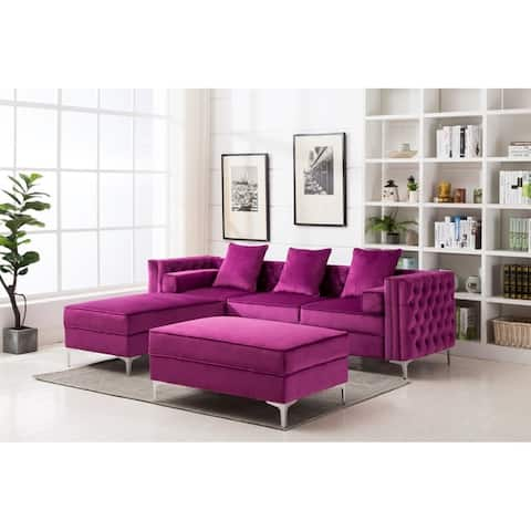 Modern Tufted Upholstered Living Room Sofa with Reversible Ottoman