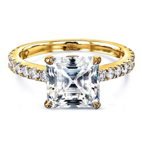 Annello by Kobelli 2 2/3ct TGW Asscher Moissanite and Diamond Tulip Head Engagement Ring in 14k Gold (HI/VS, GH/I)