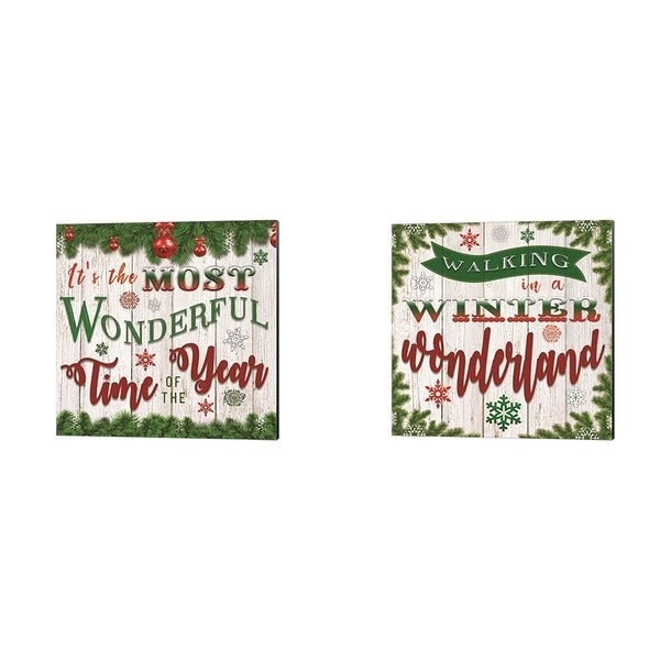 Bluebird Barn 'It's the Most Wonderful Time of the Year & Walking in a Winter Wonderland' Canvas Art (Set of 2)