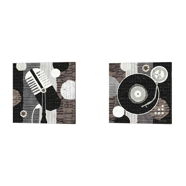 Michael Mullan 'Rock N Roll Album & Mic Neutral' Canvas Art (Set of 2)