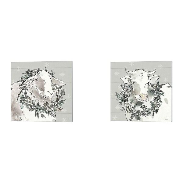 Anne Tavoletti 'Modern Farmhouse Snowflakes' Canvas Art (Set of 2)