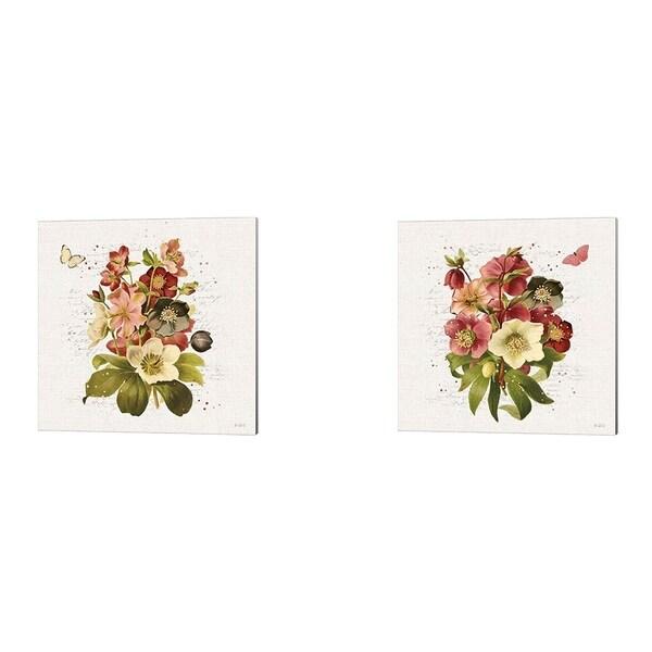 Katie Pertiet 'Vintage Petals A' Canvas Art (Set of 2)