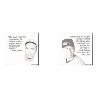 Susan Ball 'Baseball Greats - Derek Jeter & Jackie Robinson' Canvas Art (Set of 2)