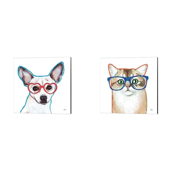 Melissa Averinos 'Bespectacled Pet B' Canvas Art (Set of 2)