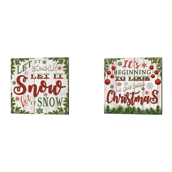 Bluebird Barn 'It's Beginning to Look a Lot Like Christmas & Let It Snow' Canvas Art (Set of 2)
