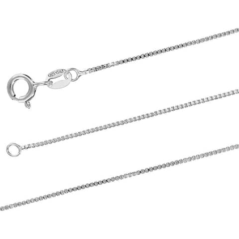 Sterling Silver 0.8mm X 18 Inches Italian Box Chain Necklace