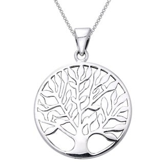 Sterling Silver Large Celtic Tree Of Life Pendant On 20 Inch Box Chain Necklace