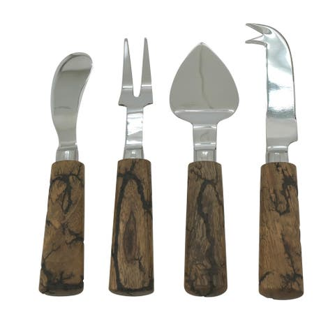 Cheese Serving Set with Wooden Design (Set of 4) - Set of 4