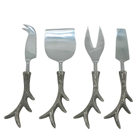 Cheese Cutlery 4-Piece Set with Antler Handles