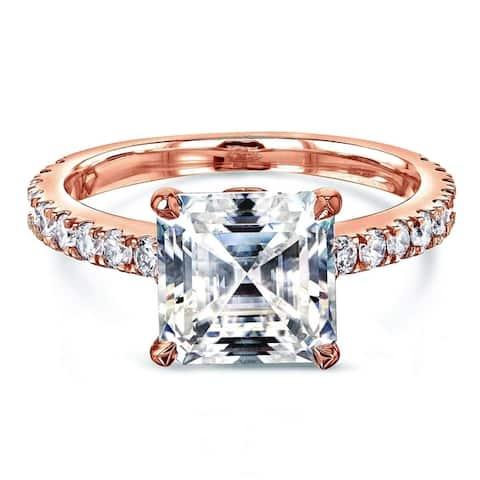 Annello by Kobelli 2 2/3ct TGW Asscher Moissanite and Diamond Tulip Head Engagement Ring in 14k Gold (FG/VS, GH/I)