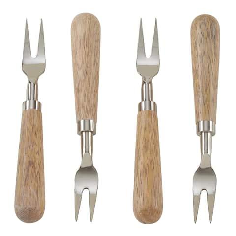 Wooden Design 4-Piece Cocktail Fork Set