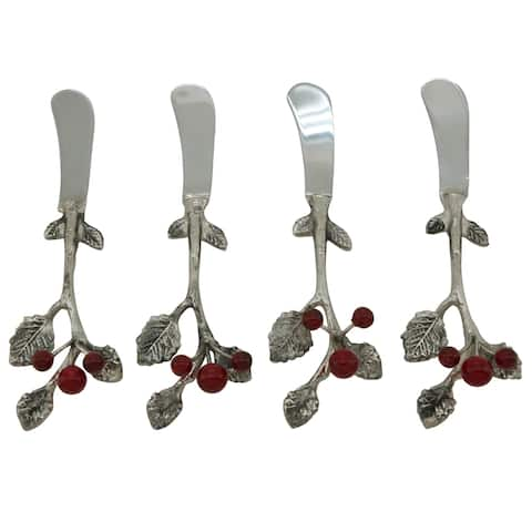 Holly Berry Handle 4-Piece Cocktail Knife Set - Set of 4
