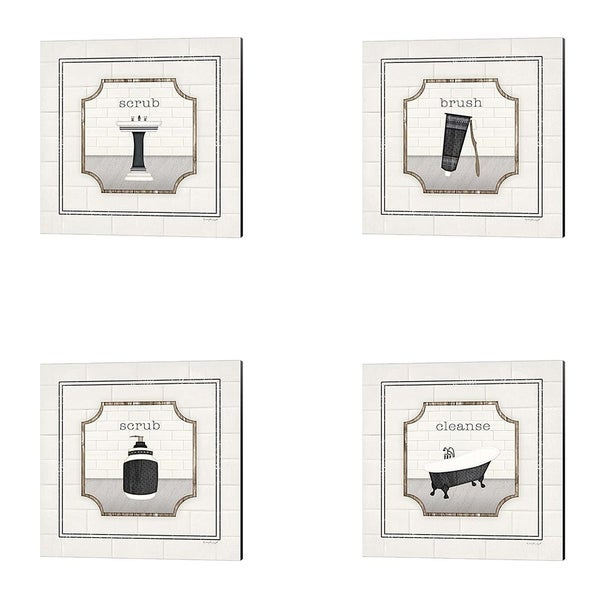Jennifer Pugh 'Bath Cleanse, Sink Scrub, Toothbrush Brush & Soap Scrub' Canvas Art (Set of 4)