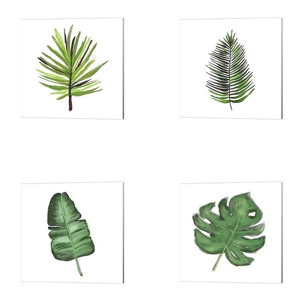 Hartworks 'Leaves of the Tropics' Canvas Art (Set of 4)