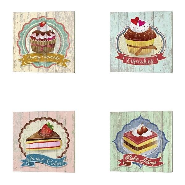 Skip Teller 'Cake Shop, Cherry Cupcake, Cupcakes & Sweet Cakes' Canvas Art (Set of 4)