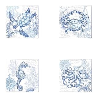 Tre Sorelle Studios 'Coastal Sketchbook Sea Horse, Turtle, Crab & Octopus' Canvas Art (Set of 4)