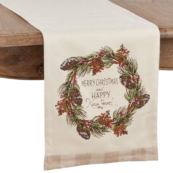 Table Runner with Merry Christmas and Happy New Year Design. Opens flyout.