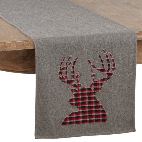 Table Runner With Plaid Reindeer Design