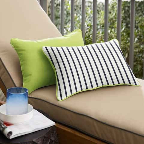Sunbrella Indoor/Outdoor Two-Sided Lumbar Pillows, Set of 2, Corded