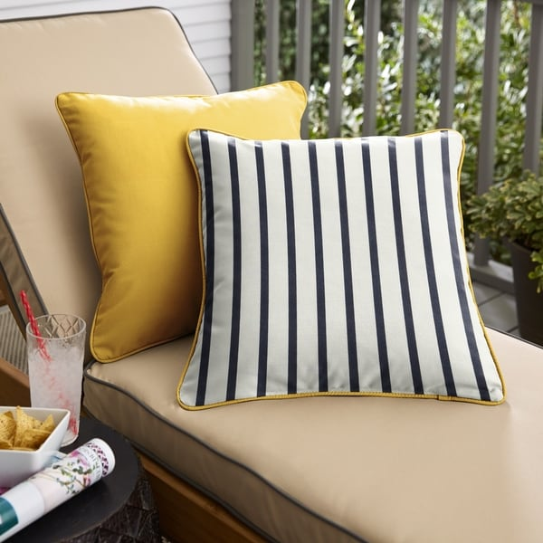 Sunbrella Indoor/Outdoor Two-Sided Square Pillows, Set of 2, Corded. Opens flyout.