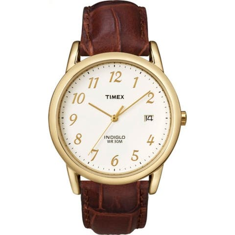 Timex Men's Easy Reader Date Leather Strap - Brown/Gold-Tone/Cream