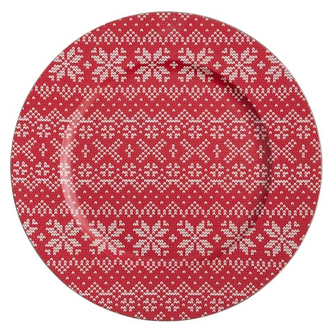 Christmas Charger Plates With Snowflakes Design (Set of 4)