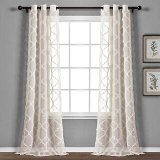 Lush Decor Avon Trellis Grommet Sheer Window Curtain Panel Pair