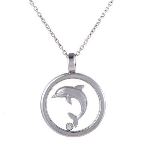 Chopard Animal World Womens White Gold Diamond Dolphin Pendant Necklace