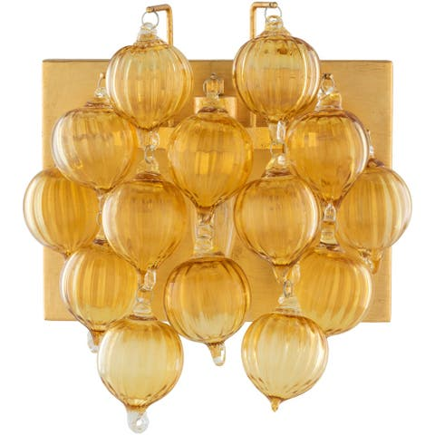 "Elysian Modern Dangling Glass 1-Light Wall Sconce - 11""H x 10""W x 5.5""D"