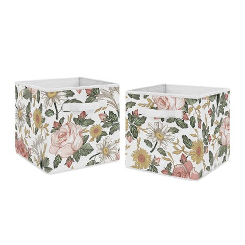 Sweet Jojo Designs Vintage Floral Boho Foldable Fabric Storage Bins - Blush Pink Yellow Green White Shabby Chic Flower Farmhouse