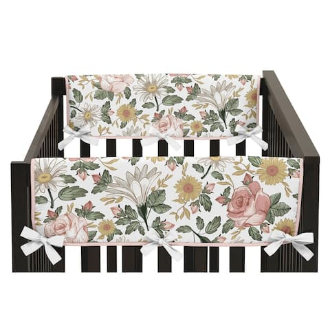 Sweet Jojo Designs Vintage Floral Boho Baby Girl Side Crib Rail Guard Covers (Set of 2) Pink Yellow Green White Shabby Chic Rose