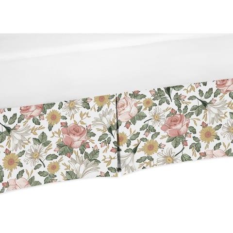 Sweet Jojo Designs Vintage Floral Boho Girl Crib Bed Skirt - Blush Pink Yellow Green and White Shabby Chic Rose Flower Farmhouse