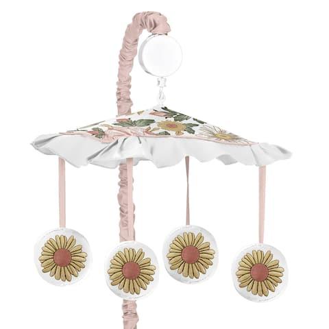 Sweet Jojo Designs Vintage Floral Boho Girl Musical Crib Mobile Blush Pink Yellow Green White Shabby Chic Rose Flower Farmhouse