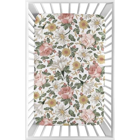 Sweet Jojo Designs Vintage Floral Boho Baby Girl Fitted Mini Crib Sheet Blush Pink Yellow Green White Shabby Chic Rose Farmhouse