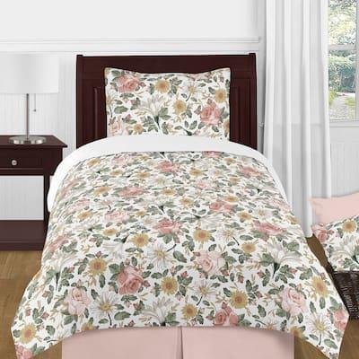 Sweet Jojo Designs Vintage Floral Boho Girl 4-piece Twin Comforter Set Blush Pink Yellow Green White Shabby Chic Rose Farmhouse