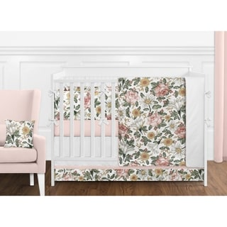 Link to Sweet Jojo Designs Vintage Floral Boho Girl 9-piece Nursery Crib Bedding Set Blush Pink Yellow Green White Shabby Chic Farmhouse Similar Items in Bedding Sets