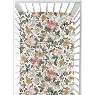 Sweet Jojo Designs Vintage Floral Boho Girl Fitted Crib Sheet - Blush Pink Yellow Green White Shabby Chic Rose Flower Farmhouse