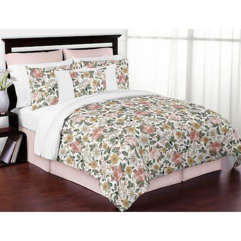 Sweet Jojo Designs Vintage Floral Boho Girl 3pc Full Queen Comforter Set - Blush Pink Yellow Green White Shabby Chic Farmhouse