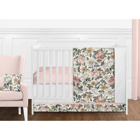Sweet Jojo Designs Vintage Floral Boho Girl 11pc Nursery Crib Bedding Set - Blush Pink Yellow Green White Shabby Chic Farmhouse